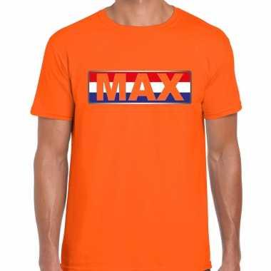 Max supporter t-shirt met nederlandse vlag oranje voor heren