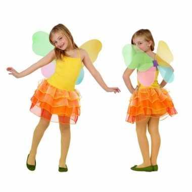 Meisjes vlinder kostuum geel oranje
