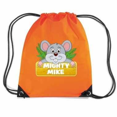 Mighty mike de muis trekkoord rugzak / gymtas oranje voor kinderen