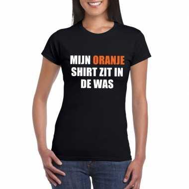 Mijn oranje t-shirt zit in de was t-shirt zwart dames