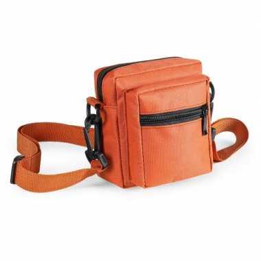 Mini schoudertasjes oranje 11 cm