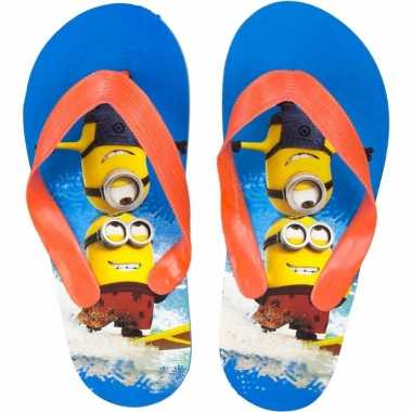 Minions flip flops blauw oranje voor kinderen