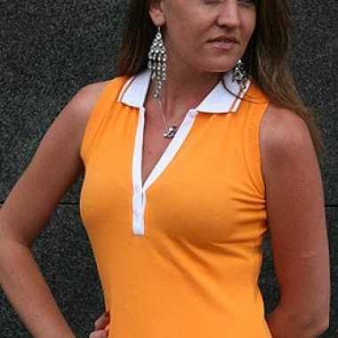 Mouwloze dames polo oranje
