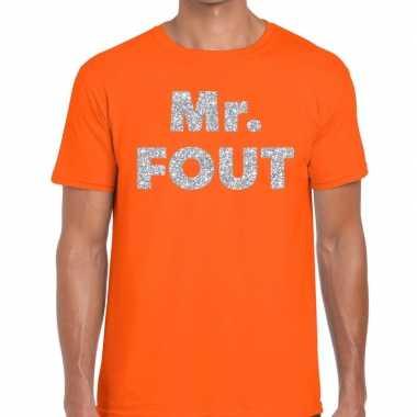 Mr. fout zilveren letters fun t-shirt oranje voor heren