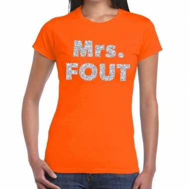 Mrs. fout fun t-shirt oranje met zilver voor dames