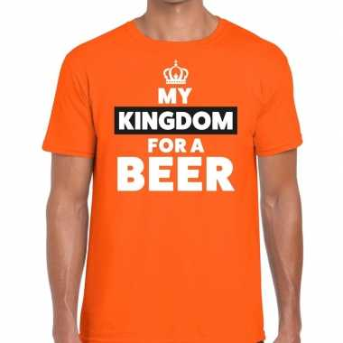 My kingdom for a beer t-shirt oranje voor heren