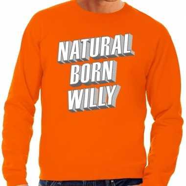 Natural born willy sweater oranje heren