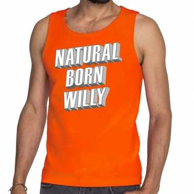 Natural born willy tanktop / mouwloos shirt oranje heren
