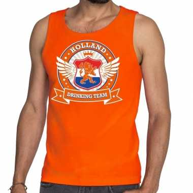 Nederland drinking team tankop / mouwloos shirt oranje heren