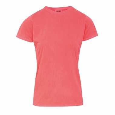 Neon oranje dames t-shirts met ronde hals