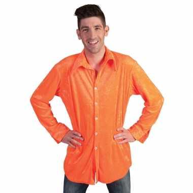 Neon oranje velours overhemd voor heren