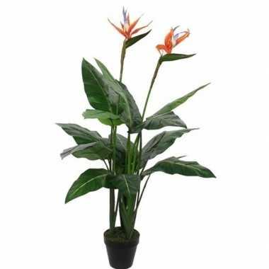 Nep planten groene paradijsvogel kunstplanten 110 cm met oranje bloemen en zwarte pot