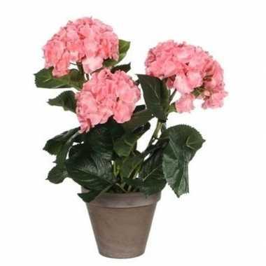 Nep planten roze hortensia kunstplanten 40 cm met oranje bloemen en g
