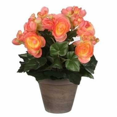 Nep planten zalmroze begonia kunstplanten 30 cm met oranje bloemen en