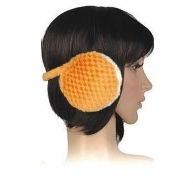 Nepbonten oorwarmers oranje voor dames