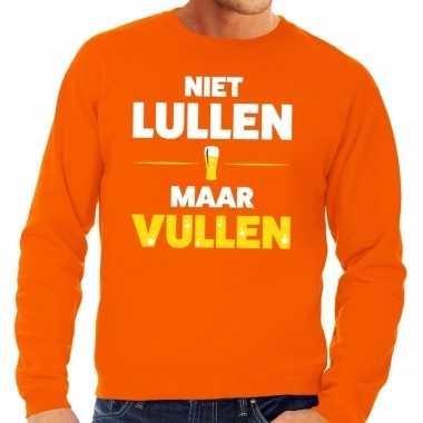 Niet lullen maar vullen fun sweater oranje voor heren