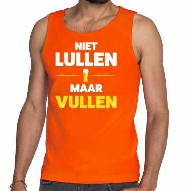 Niet lullen maar vullen fun tanktop / mouwloos shirt oranje voor here