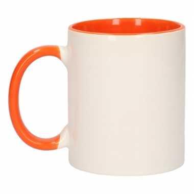 Onbedrukte mokken wit oranje