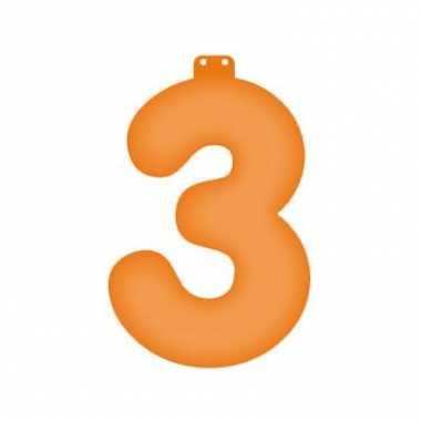 Opblaasbare cijfer 3 oranje