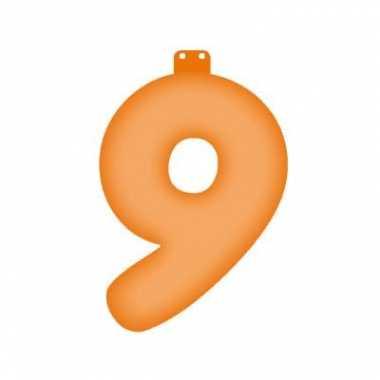 Opblaasbare cijfer 9 oranje