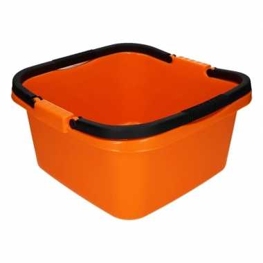 Oranje afwasteil / emmer met handvat 13 liter