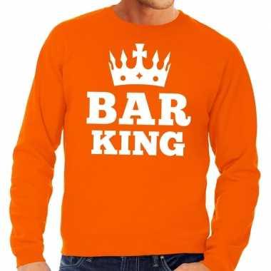 Oranje bar king sweater met kroontje heren