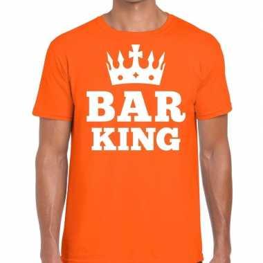 Oranje bar king t-shirt met kroontje heren
