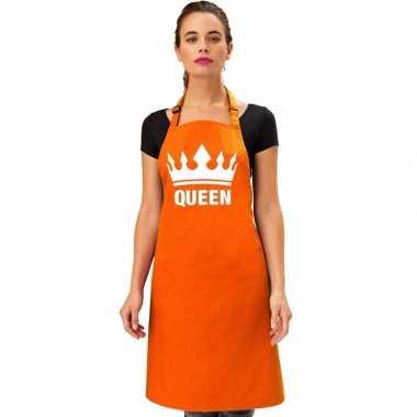 Oranje bbq queen schort/ keukenschort met kroon heren