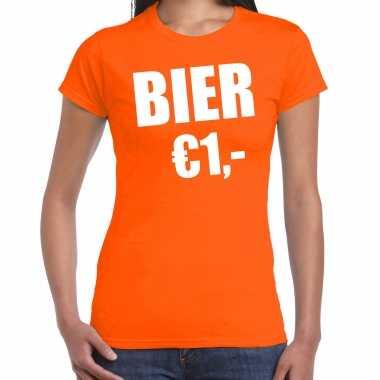 Oranje bier 1 euro shirtje - koningsdag t-shirt voor dames