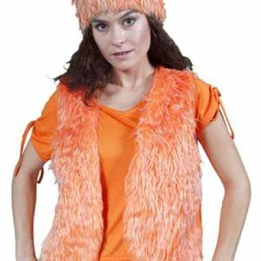 Oranje bont body warmer dames
