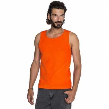 Oranje casual heren tanktop/singlet basic hemden