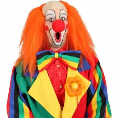 Oranje clowns pruik