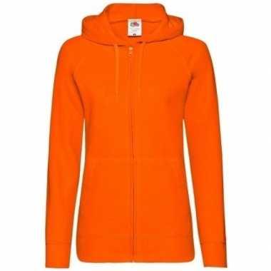 Oranje dames capuchon sweater vest