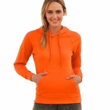 Oranje dames capuchon sweater