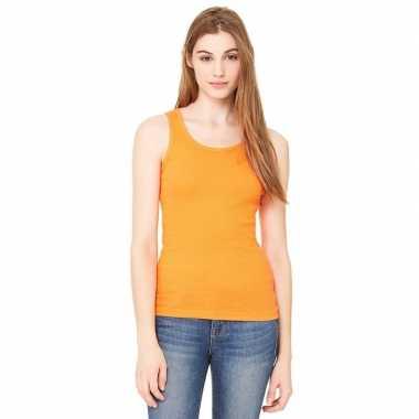Oranje dames rib singlet voor dames