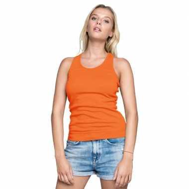 Oranje dames tanktop/singlet basic racerback hemdjes