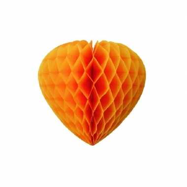 Oranje decoratie hart papier