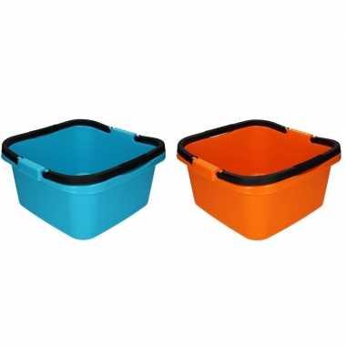 Oranje en blauwe afwasteil / emmer met handvat 13 liter