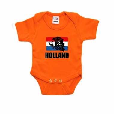 Oranje fan romper / kleding holland met leeuw en vlag koningsdag/ ek/ wk voor babys