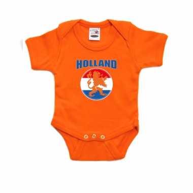 Oranje fan romper / kleding holland met oranje leeuw koningsdag/ ek/ wk voor babys