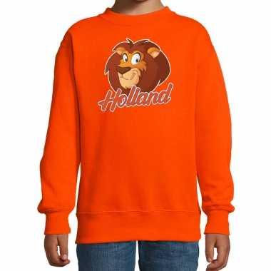 Oranje fan sweater / kleding holland leeuw voor koningsdag / ek / wk voor kinderen