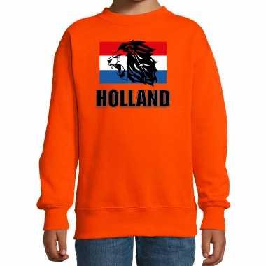 Oranje fan sweater / trui holland met leeuw en vlag ek/ wk voor kinderen
