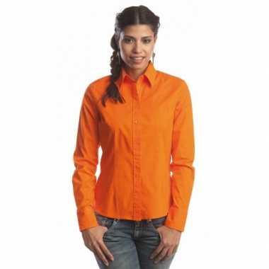 Oranje gekleurd dames overhemd met lange mouwen