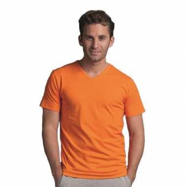 Oranje gekleurd v-hals shirt voor heren