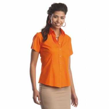 Oranje gekleurde dames overhemd met korte mouwen
