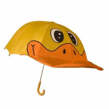 Oranje gele eenden jongens paraplu