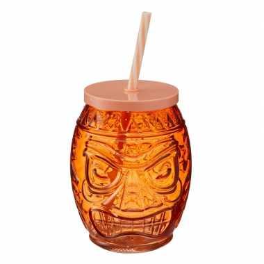Oranje glazen drink potje met rietje 550 ml