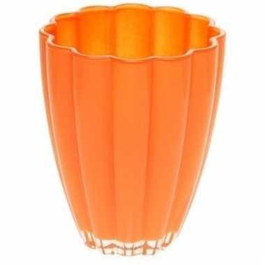 Oranje glazen vaas 17 cm
