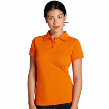 Oranje grote maten polo voor dames