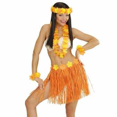 Oranje hawaii kostuum set voor dames